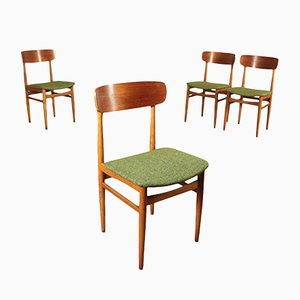 Italian Beech, Foam, Plywood & Fabric Chairs, 1960s, Set of 4