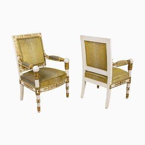 Weiße Sessel mit Vergoldeten Armlehnen, 1950er, 2er Set