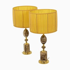 Tischlampen aus Onyx & vergoldeter Bronze, 1970er, 2er Set