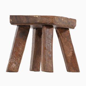 Brutalist Wooden Stools, Set of 2