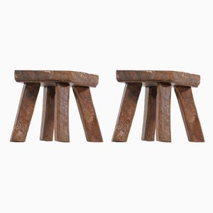 Brutalist Wooden Stools, Set of 2