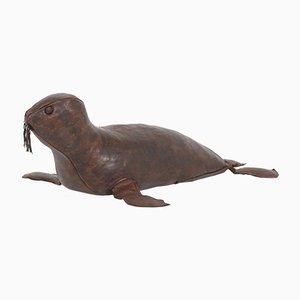 Poggiapiedi Seal in pelle di Dimitri Omersa, anni '60