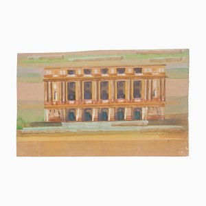 Fantastic Building Watercolor on Paper by Jean Delpech, 1960s