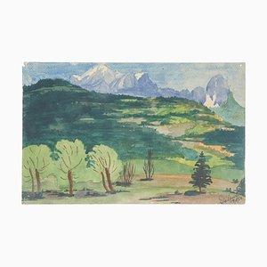 Mountain Landscape Watercolor on Paper by Jean Delpech, 1984