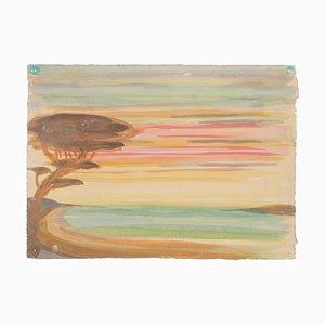 Landscape Watercolor on Paper by Jean Delpech, 1960s