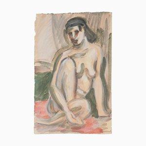 Hautfarbenes Aquarell auf Papier von Jean Delpech, 1960er