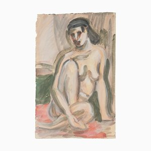 Nude Watercolor on Paper by Jean Delpech, 1960s