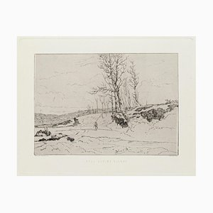 Landscape Etching on Paper by Edoardo Perotti, 1880s