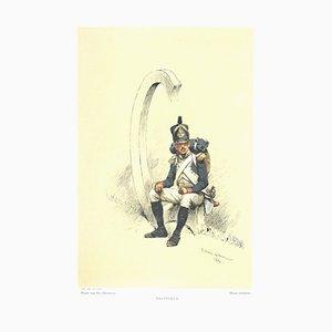 Soldier Watercolor Lithograph by Jean Baptiste Édouard Detaille, 1882