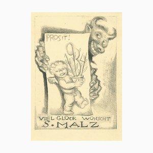 Ex Libris Good Luck Etching by Michel Fingesten, 1930s