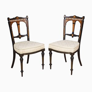 Antique Aesthetic Movement Ebonies Side Chairs, Set of 2