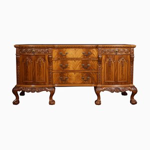 Carved Mahogany Inverted Breakfront Sideboard, 1920s