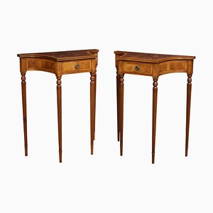 Mahogany Cross Banded Side Tables, 1920s, Set of 2