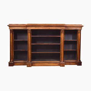 Antique Rosewood Breakfront Open Bookcase