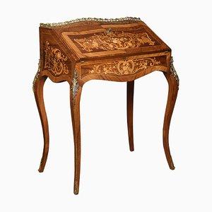 Antique Walnut Inlaid Bureau de Dame Cabinet