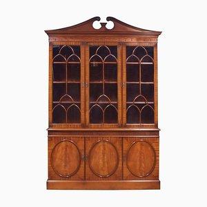 Mahogany 3-Door Library Bookcase, 1940s