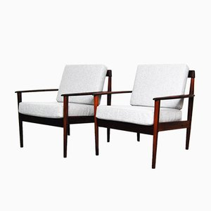 Rosewood Armchair by Grete Jalk for Poul Jeppesen, 1959, Set of 2