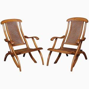 Walnut Framed Folding Steamer Deck Chairs, 1900s, Set of 2