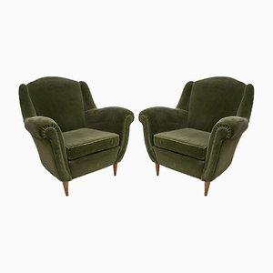 Mid-Century Modern Armchairs in Velvet, Italian, 1950s, Set of 2