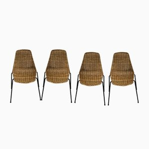 Mid-Century Modern Wicker Dining Chairs from Gian Franco Legler, 1951, Set of 4