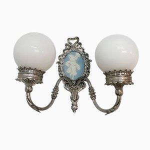 Metallische Wandlampe in Silber, 1970er