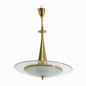 Mid-Century Ceiling Lamp in Brass and Crystal from Fontana Arte, 1950s