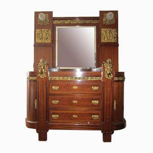 Baroque Mahogany & Brass Dresser, Dressing Table & Chairs from Emilio Segre Roma, 1923, Set of 8
