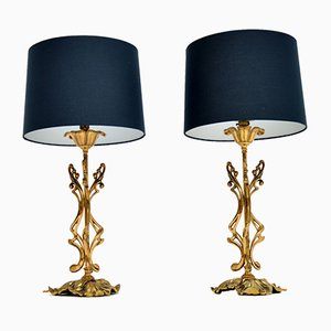 Vintage Italian Brass Table Lamps, 1970s, Set of 2