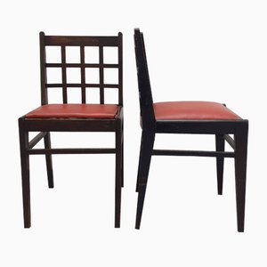 Black Varnished Beech 555 Dining Chairs with Checkered Backrest & Red Skai Seat by René Gabriel, 1940s, Set of 2