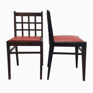 Chaises de Salon 555 en Hêtre Verni Noir avec Dossier à Carreaux et Assise en Skaï Rouge par René Gabriel, 1940s, Set de 2
