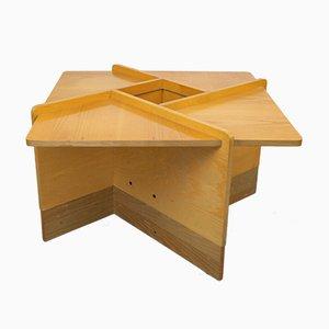 Tavolino da caffè quadrato in legno, anni '70