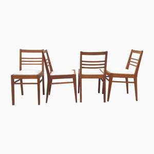 Chaises en Chêne avec Dossier Ajustable 3-Bar & Assises en Toile Blanche par René Gabriel, 1940s, Set de 4