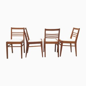 Oak Chairs with 3-Bar Openwork Back & White Canvas Seat by René Gabriel, 1940s, Set of 4