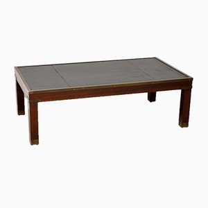 Mahogany & Leather Campaign Style Coffee Table, 1950s