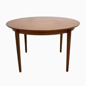 Mid-Century Teak Veneer Round Dining Table, 1960s