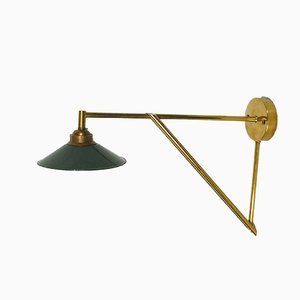 Small Brass & Enamel Wall Lamp