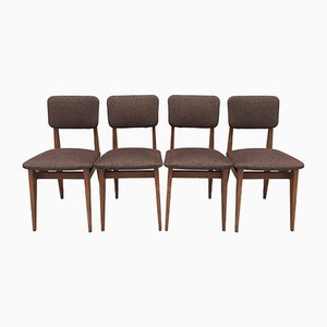 Oak Model CA Chairs with Back & Seat in Brown Wool by Marcel Gascoin for Arhec, 1950s, Set of 4