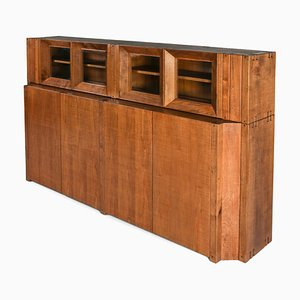 Solid Walnut Credenza with Vitrine Top by Giuseppe Rivadossi, Italy, 1970s