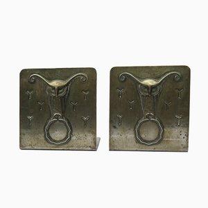 Eulen-Buchstütze aus Metall, 1930er, 2er Set