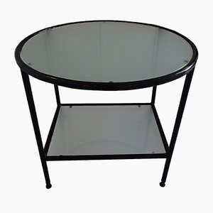 Tavolo Bauhaus in metallo nero con ripiano in vetro sterilizzato, anni '40