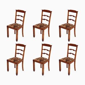 Art Deco Futurist Upholstery Dining Chairs by Osvaldo Borsani for Guido Pennati, 1930s, Set of 6
