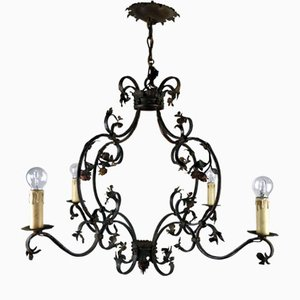 Antique Romantic Wrought Iron & Roses Chandelier