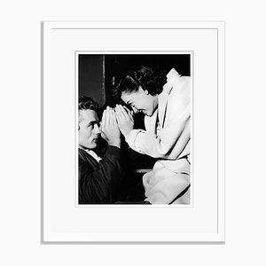 James Dean & Natalie Wood Goofing Around on Set Archival Pigment Print Framed in White by Everett Collection