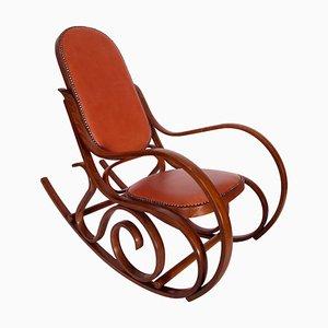 Rocking Chair Art Nouveau en Hêtre Teint & en Cuir de Thonet