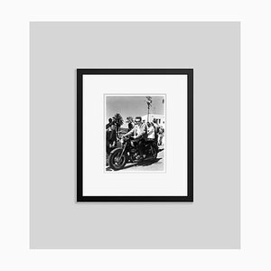 James Dean on Set Riding a Motorbike Archival Pigment Print Framed in Black by Everett Collection