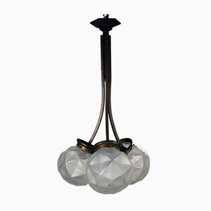 French Art Deco Brass & Frosted Pressed Glass 3-Light Ball Lamp, 1930s