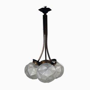 Lampe Boule à 3 Éclairages Art Déco en Laiton & Verre Dépoli, France, 1930s