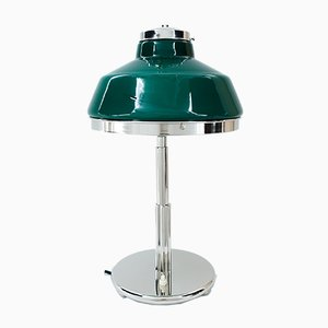 Art Deco Nickel-Plated Table Lamp with Original Green Opal Glass Shade, 1920s