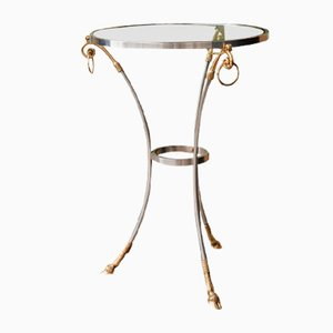 Gilt Bronze & Silver Tripod Pedestal Table from Maison Charles, 1970s