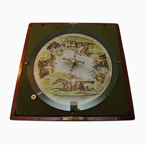 Antique British Roulette Wheel Horse Racing Game with Mahogany & Glass Case by Finch Mason for F.H.Ayres, 1890s